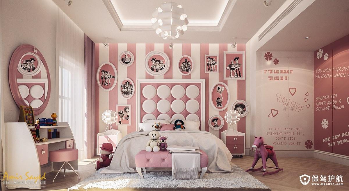 粉红色与白色碰撞的公主卧室设计!