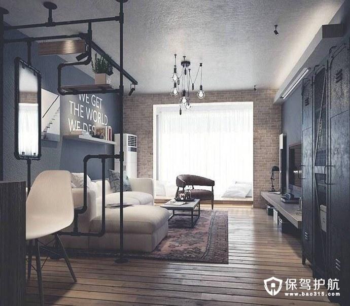 这组小复古的loft公寓装修设计,适合文艺青年搬回家