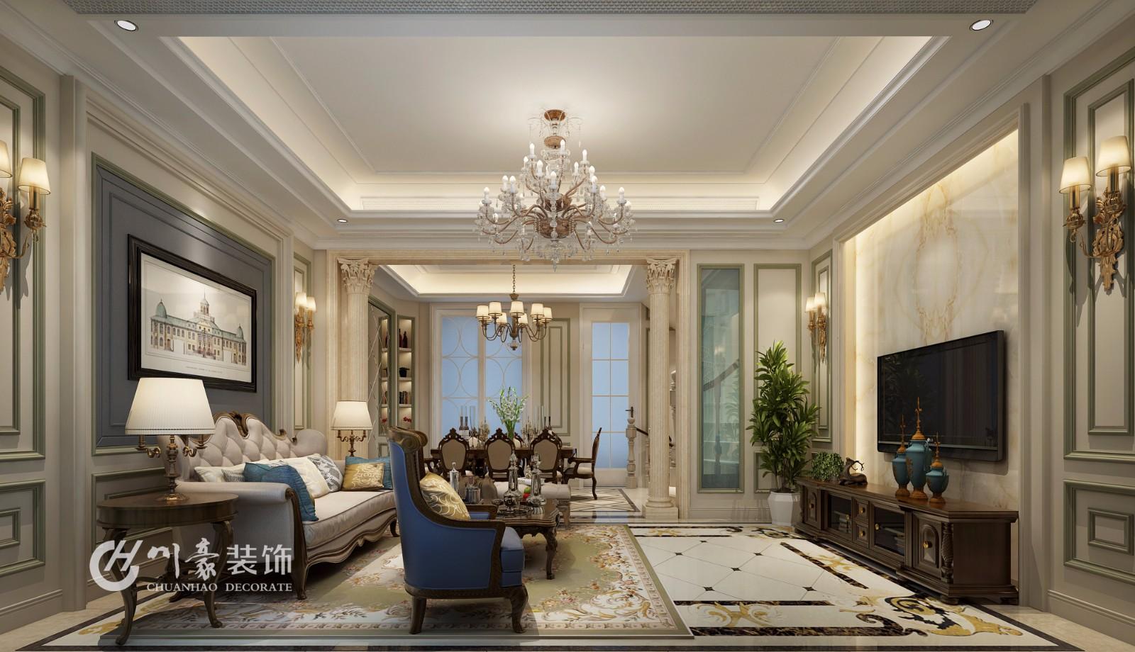 合肥川豪中海央墅368平美式风格装修案例效果图