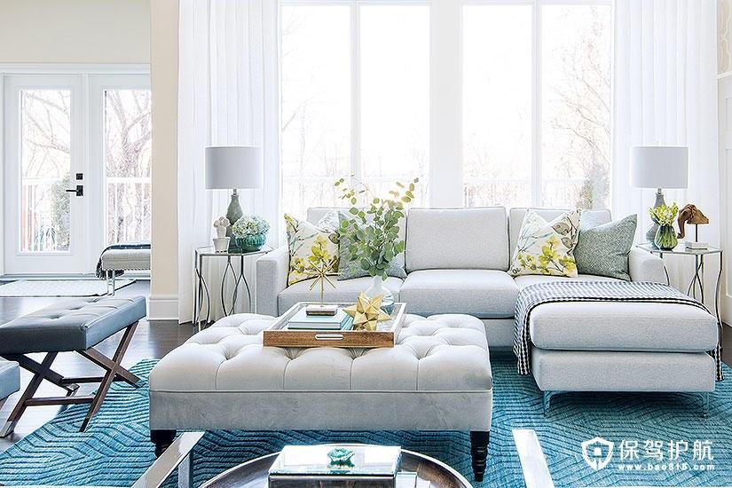 【案例】明亮的客厅装修里洒满了海洋色调