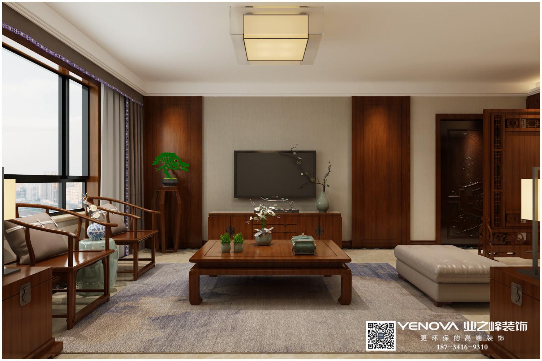 国泰龙城湾150平米新中式效果图案例——太原业之峰装饰