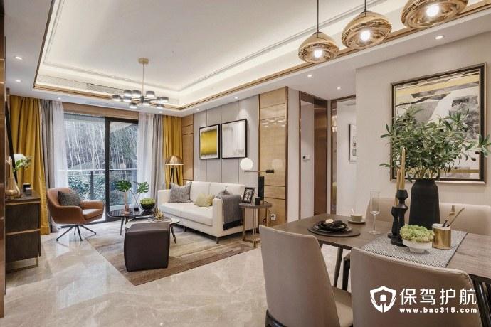 两室两厅黄色现代简约风格样板间装修效果图
