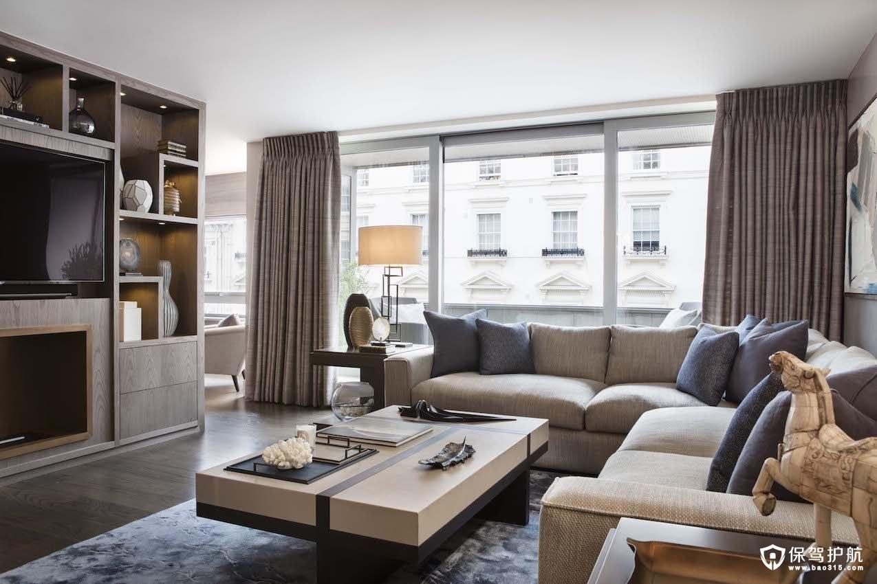 白+灰+蓝的公寓装修,演绎现代风格!