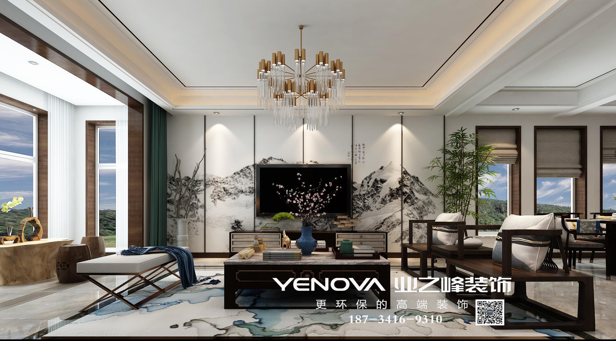 富力华庭230平米新中式风格装修效果图——太原业之峰装饰