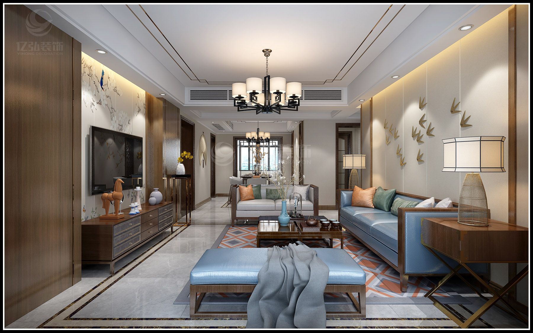 绿地四期洋房160平新中式装修案例-襄阳亿弘装饰