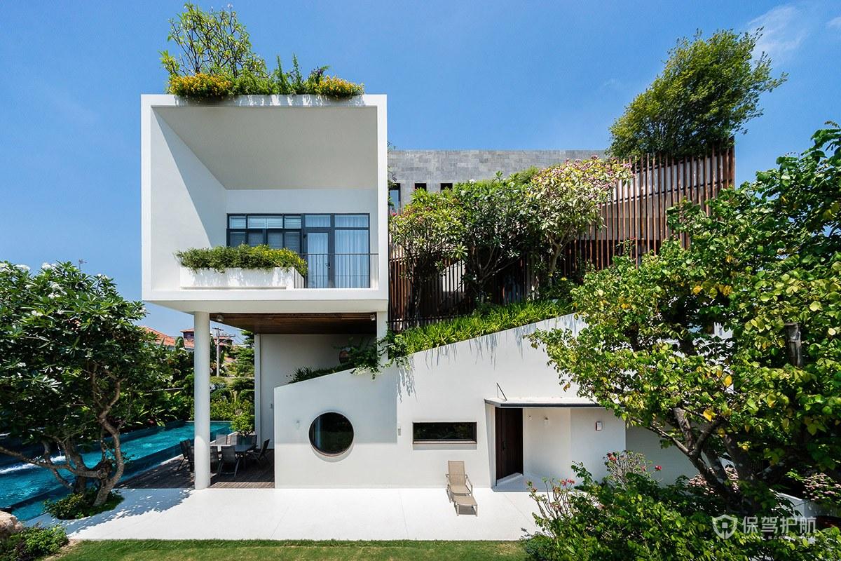 【室内设计】这栋位于越南的现代风格别墅设计,被郁郁葱葱绿林包围...