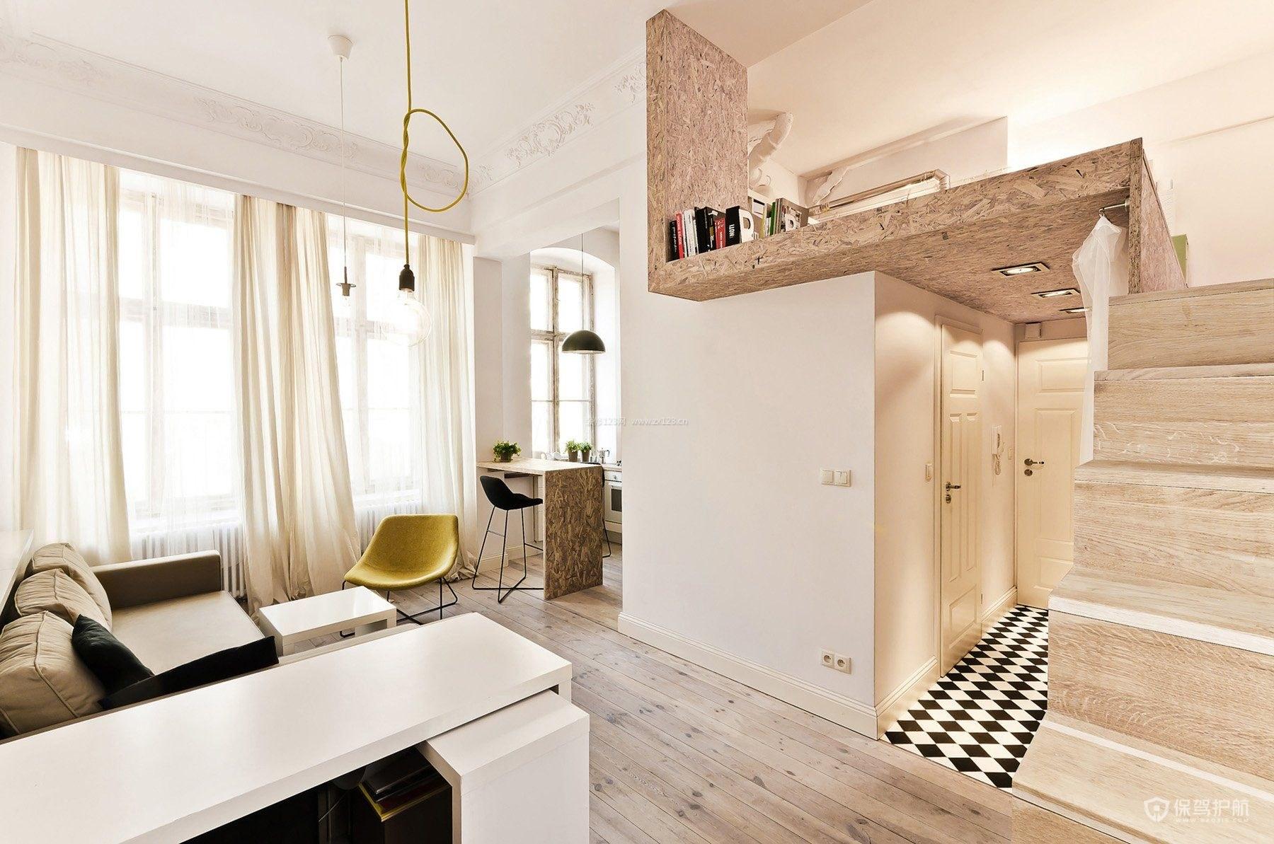 客厅错层楼梯装修效果图三,小户型打造小卧室