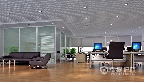 简洁开放式办公室效果实景图