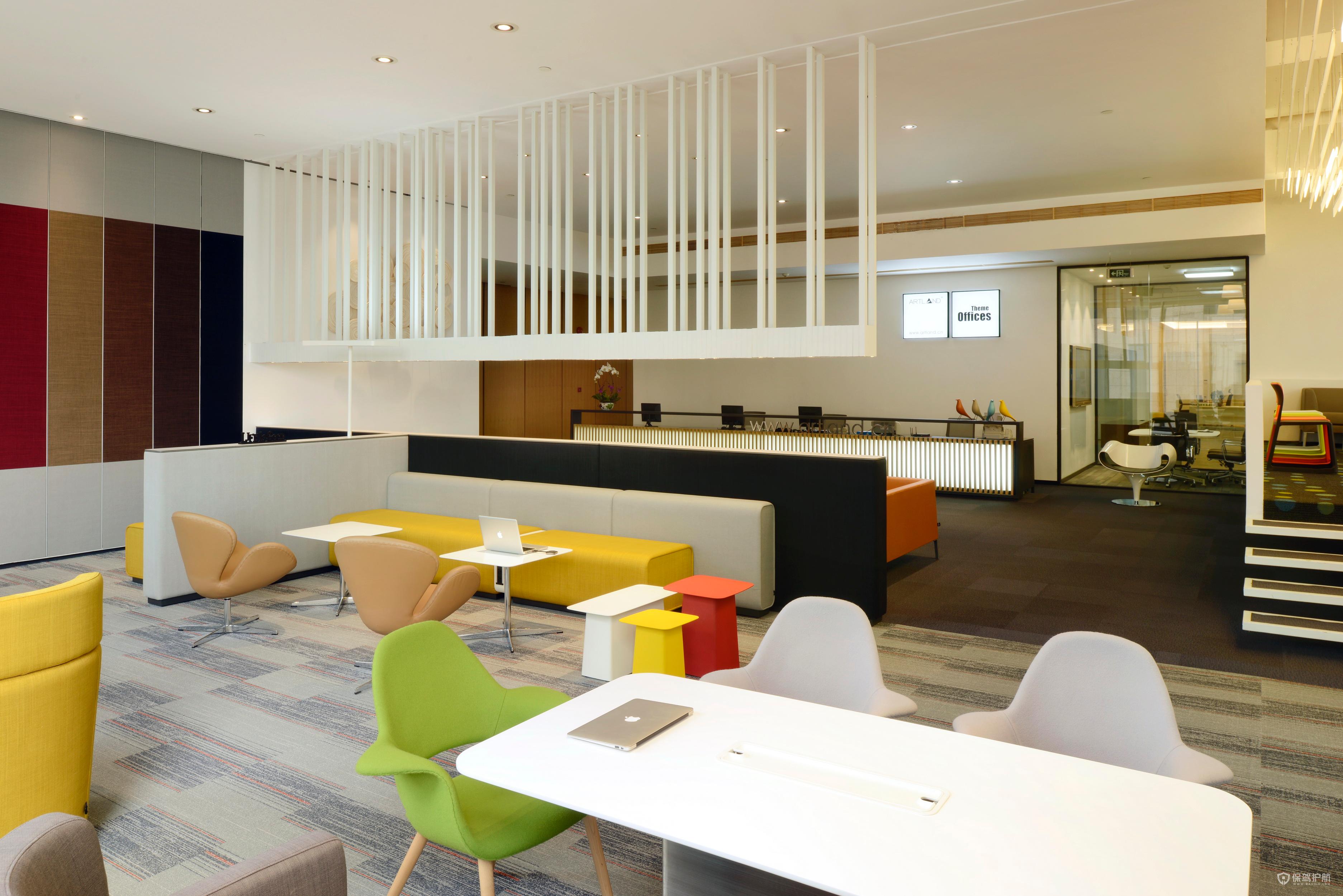 现代办公室接待区装修效果图