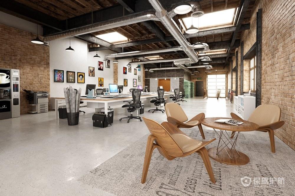 后现代工业风开放式办公室装修效果图…