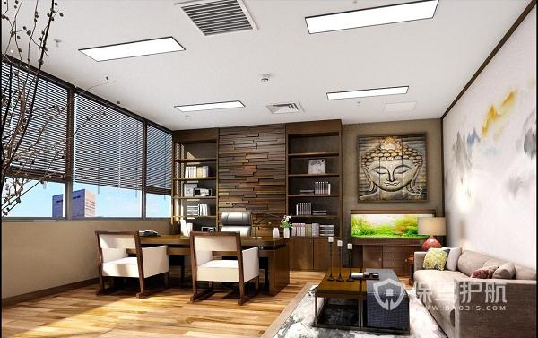 实木地板开放式办公室装修实景图