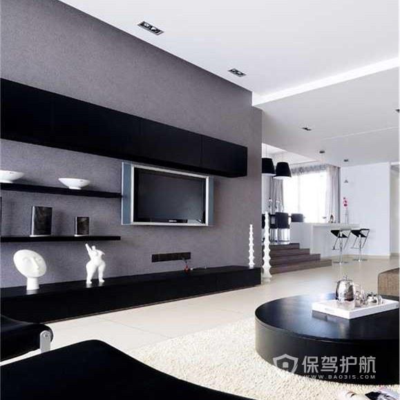 灰色和黑色的经典配色作为客厅电视背景墙的配色,大方的整体