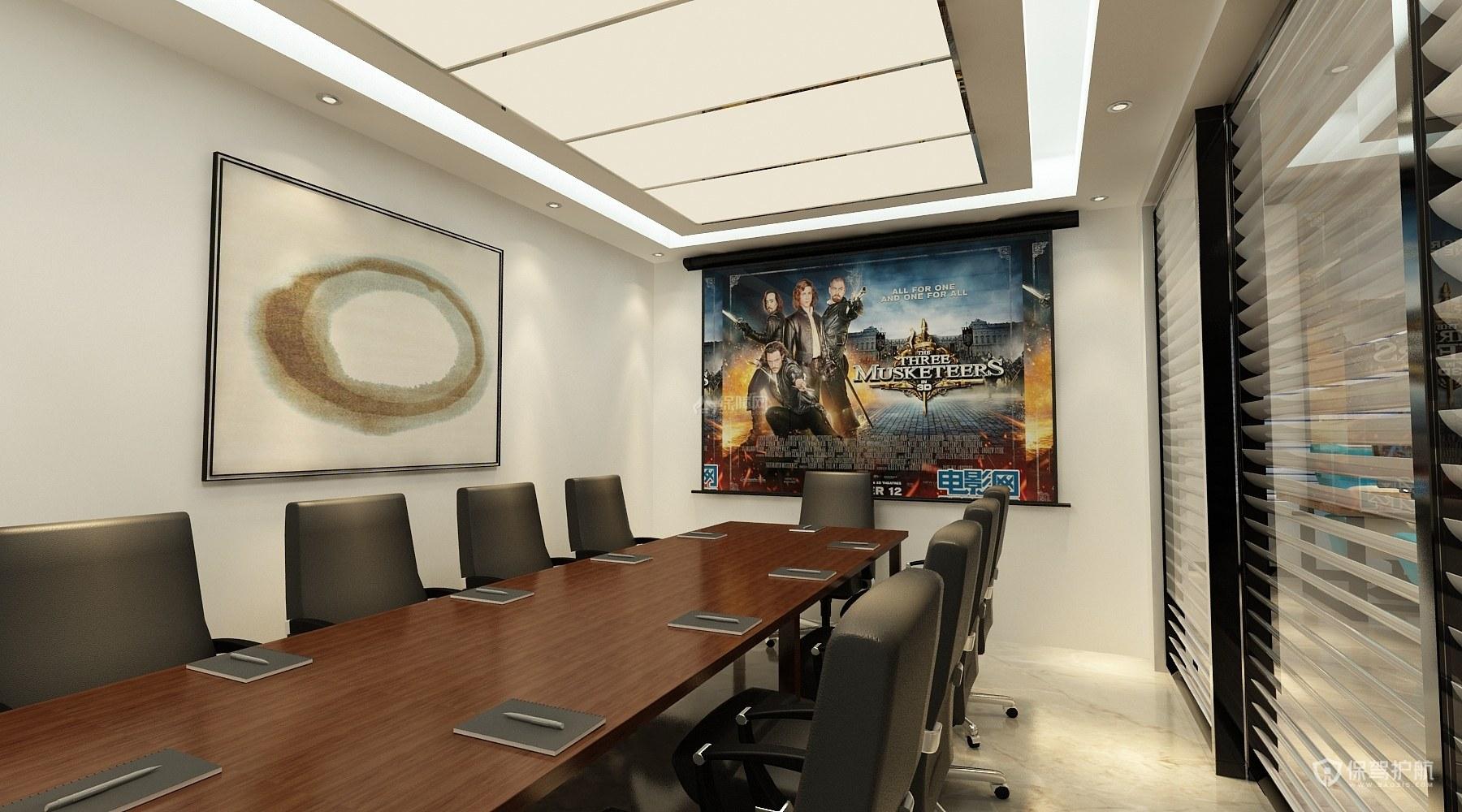 现代简单办公室会议室装修效果图