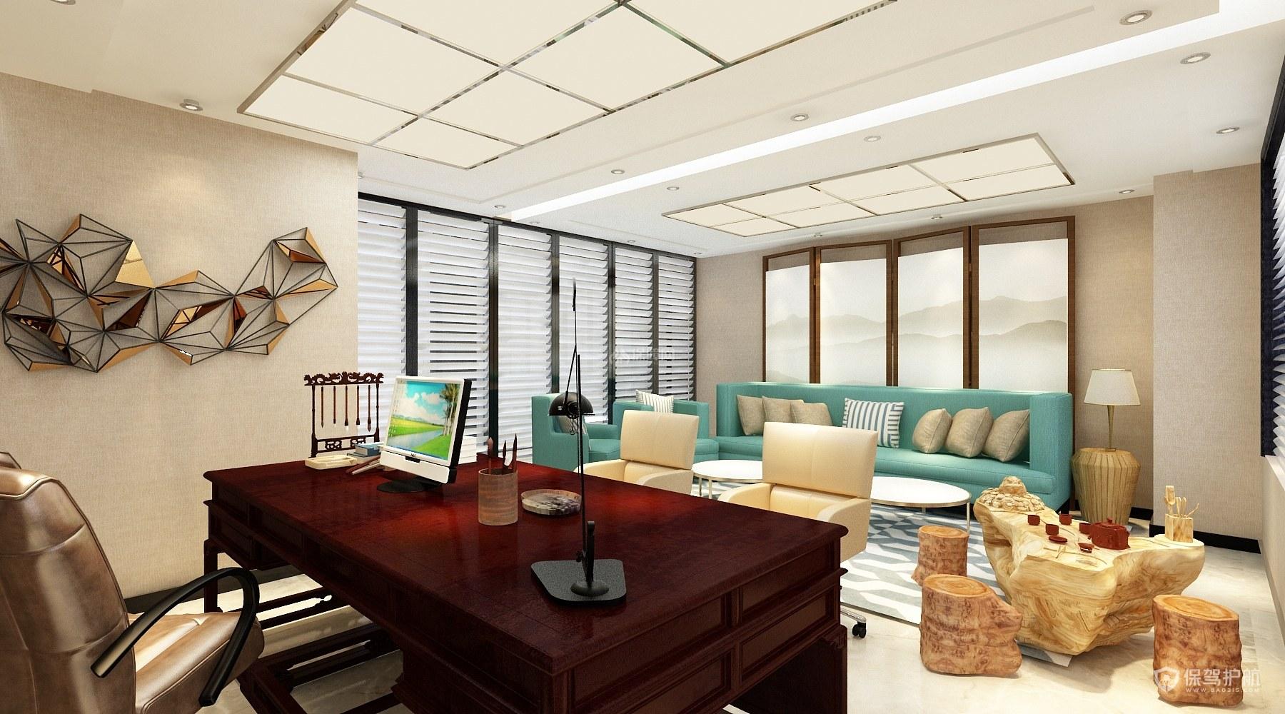 现代中式风总经理办公室装修效果图