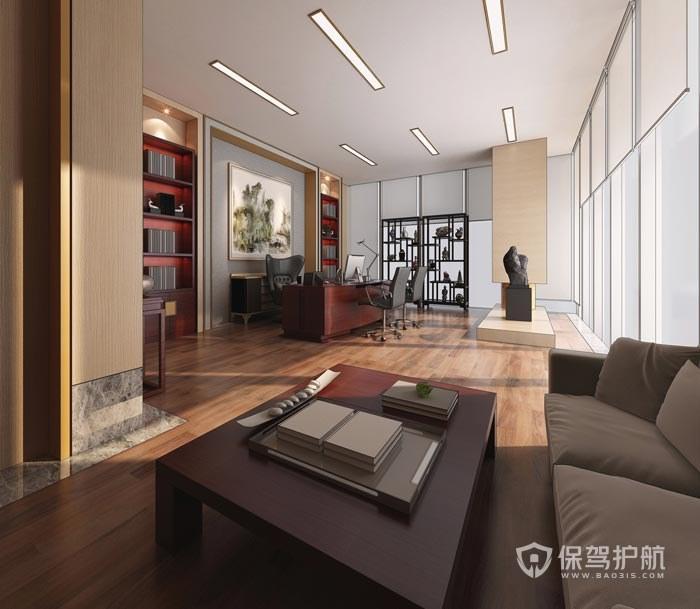 现代中式风格董事长办公室装修效果图