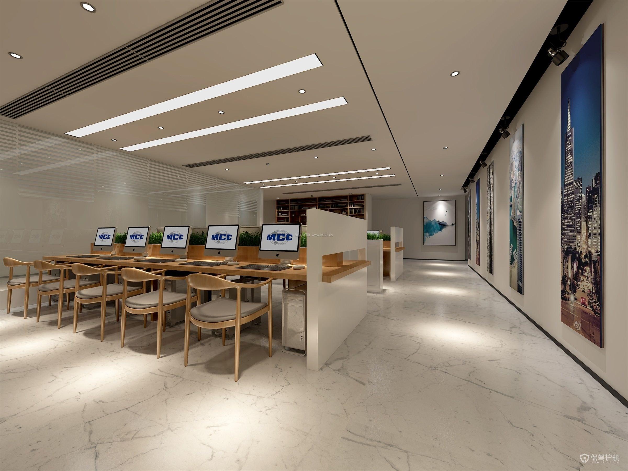 简约纯色开放式办公室设计图