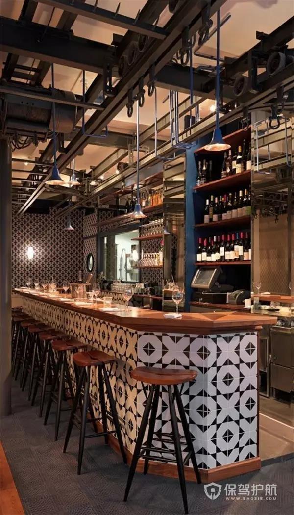 工业风酒吧吧台装修效果图