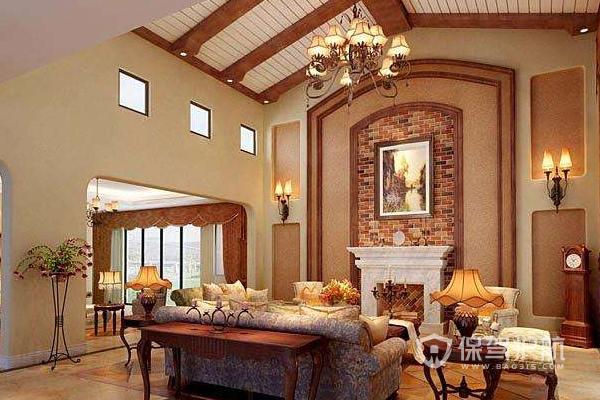 美式婚房客厅家具搭配效果图-保驾护航装修网