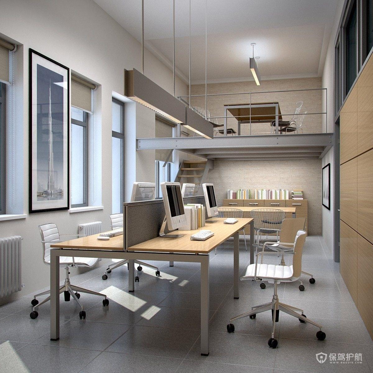 极简清新开放式双层办公区设计图