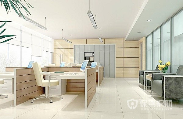极简小型开放式办公室效果图