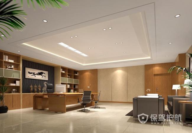 中式简约开放式领导办公室图