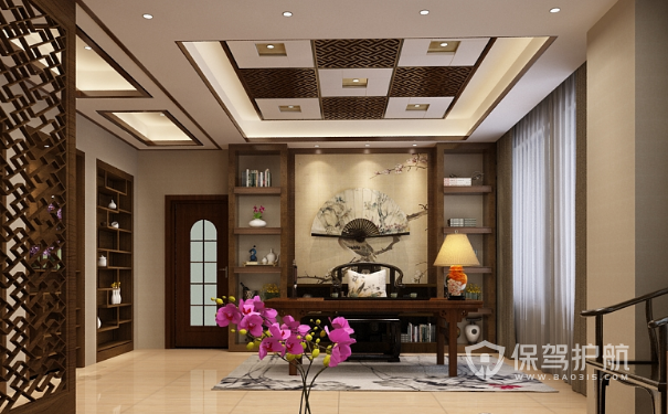 中式领导办公室吊顶设计