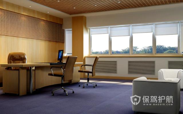 木质镂空吊顶开放式办公室效果图
