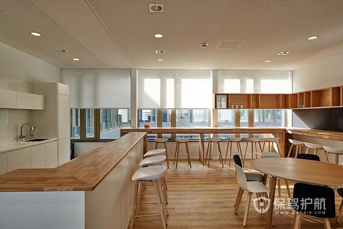 全实木家具开放式办公室用餐区实景图