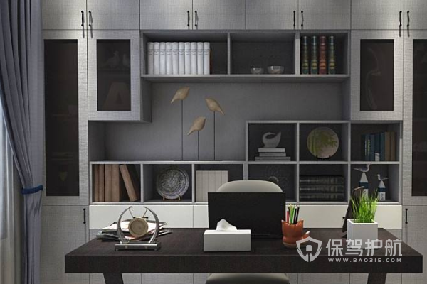 灰色书房窗帘安装图-保驾护航装修网