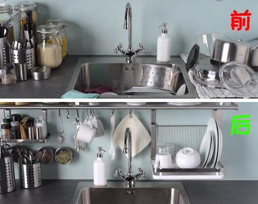 给厨房做了个收纳置物架,简单好看还很实用!