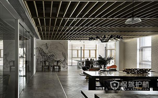 中式办公室办公区吊顶设计