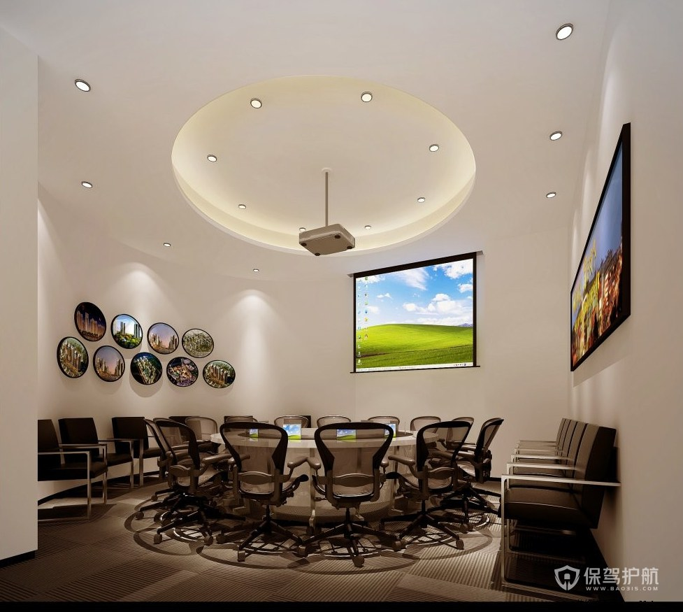 圆形吊顶简约开放式会议办公室图