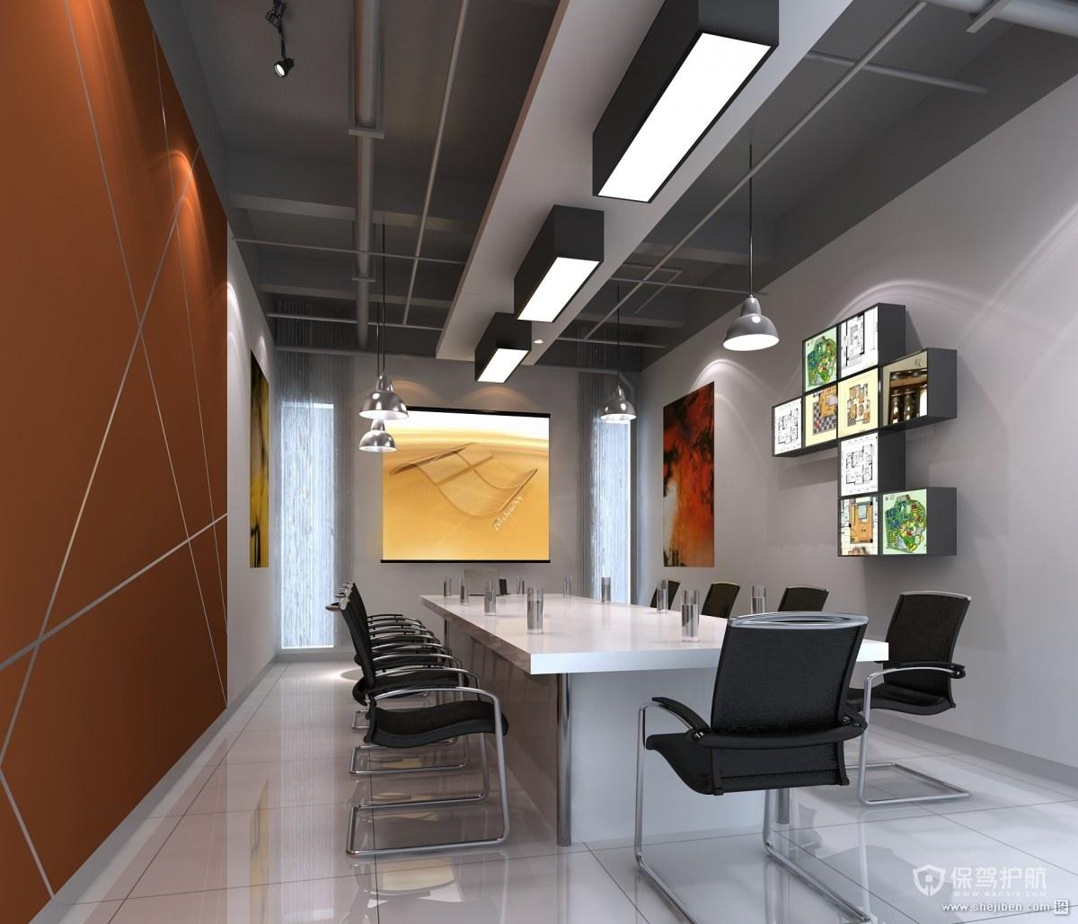 现代长方形开放式办公室设计图