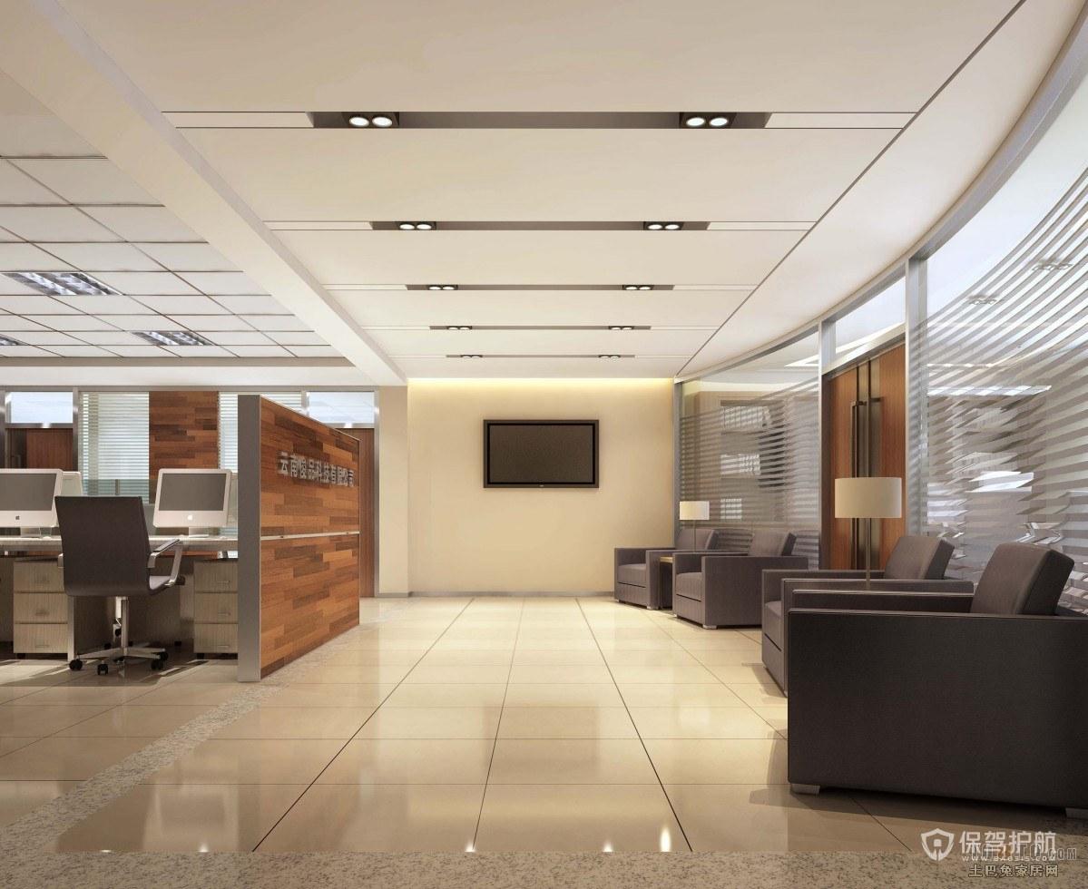 典雅大理石地板开放式办公室设计图