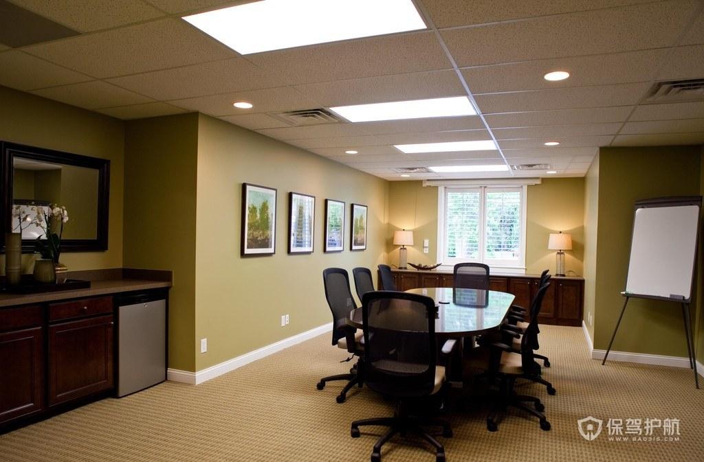 姜黄色简欧开放式办公室设计图