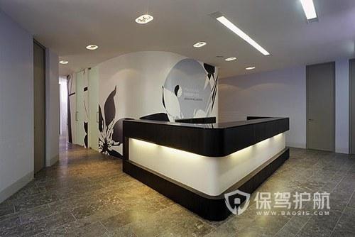 黑白简约大理石地板开放式办公室设计图