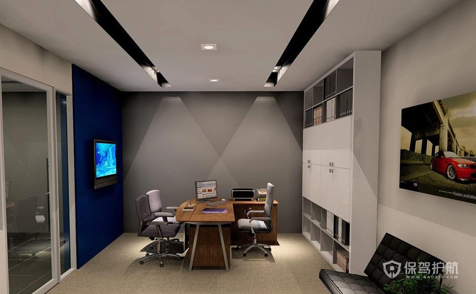 黑白金属天花板开放式办公室效果图