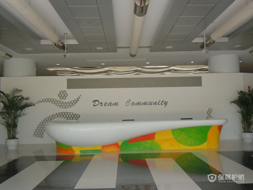 大型科技公司开放式前台办公室效果图