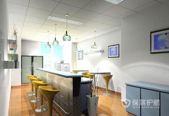 吧台式开放式办公室茶水间效果图