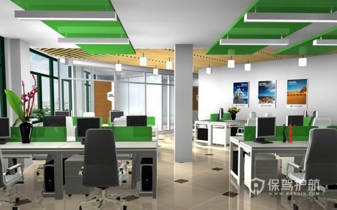 格栅吊顶开放式办公室效果图