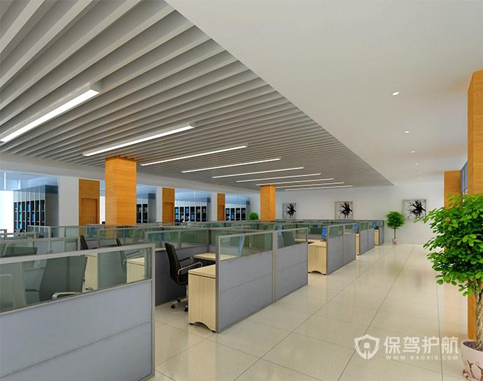 120平现代简约开放式办公室效果图