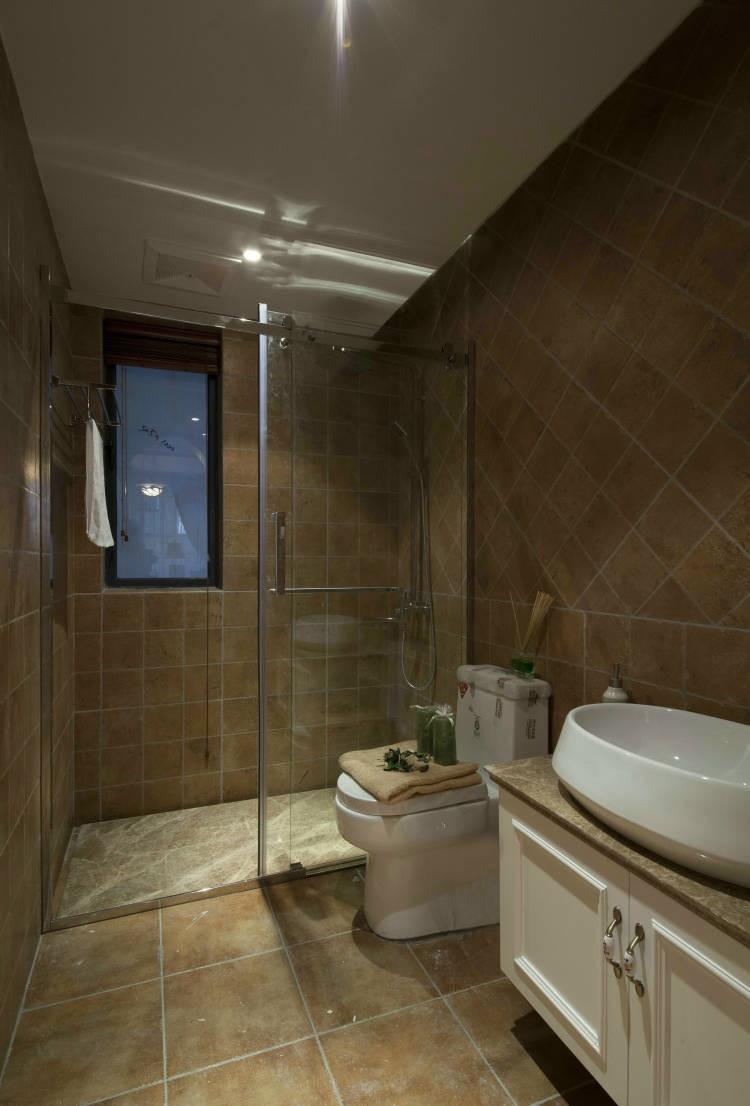 三居室装修,简约风格,美式风格,舒适,120平米装修,卫生间,整体卫浴
