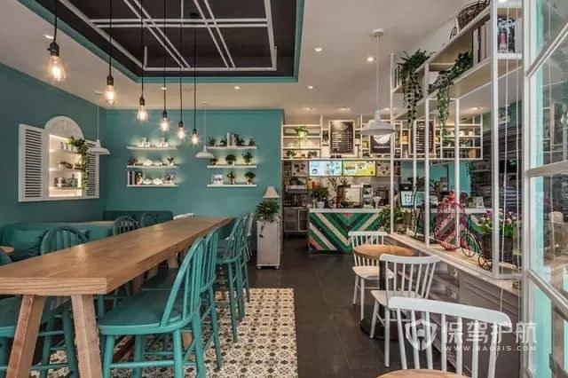 美式田园风开放式咖啡厅装修效果图
