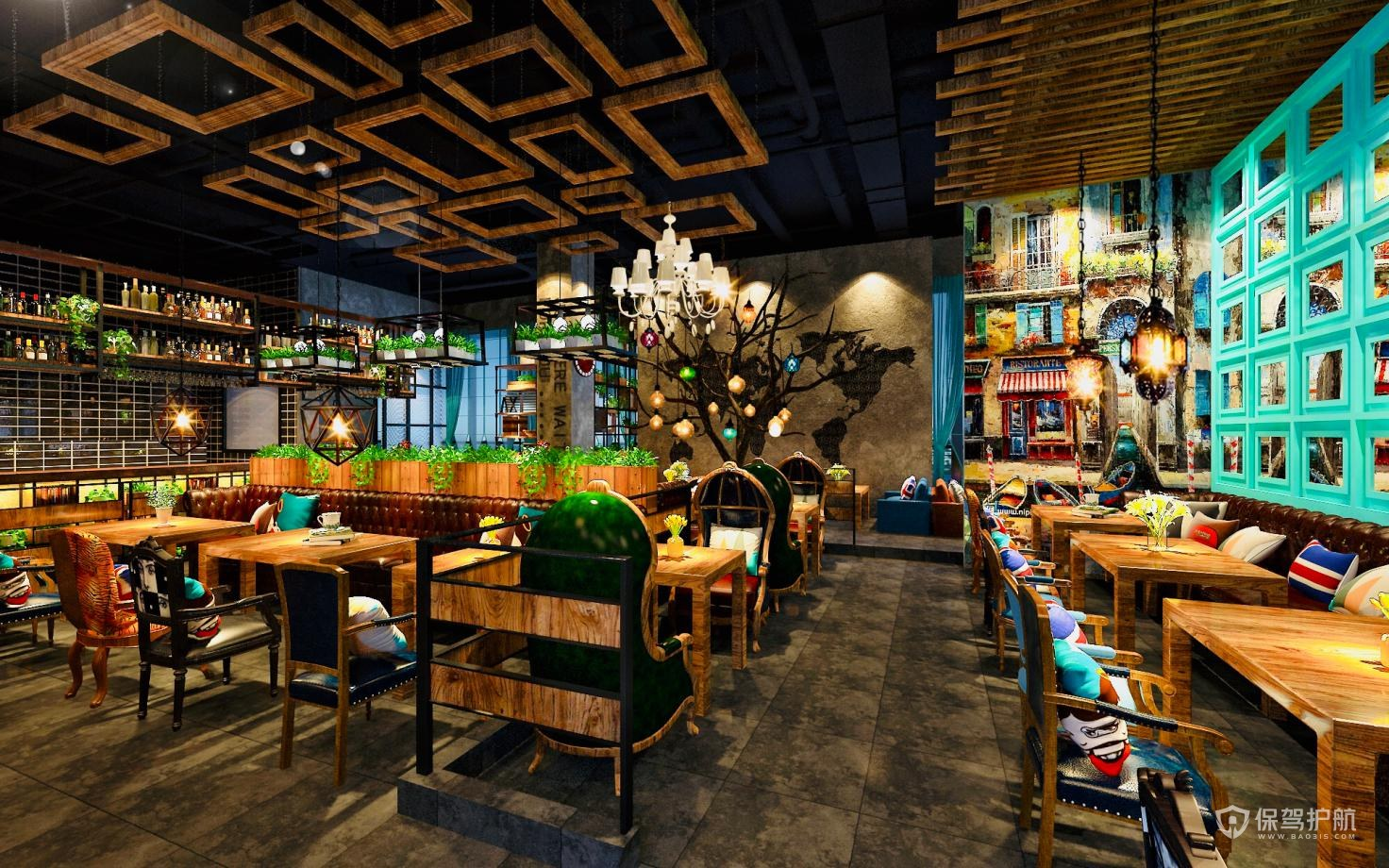 美式田园开放式咖啡厅装修图