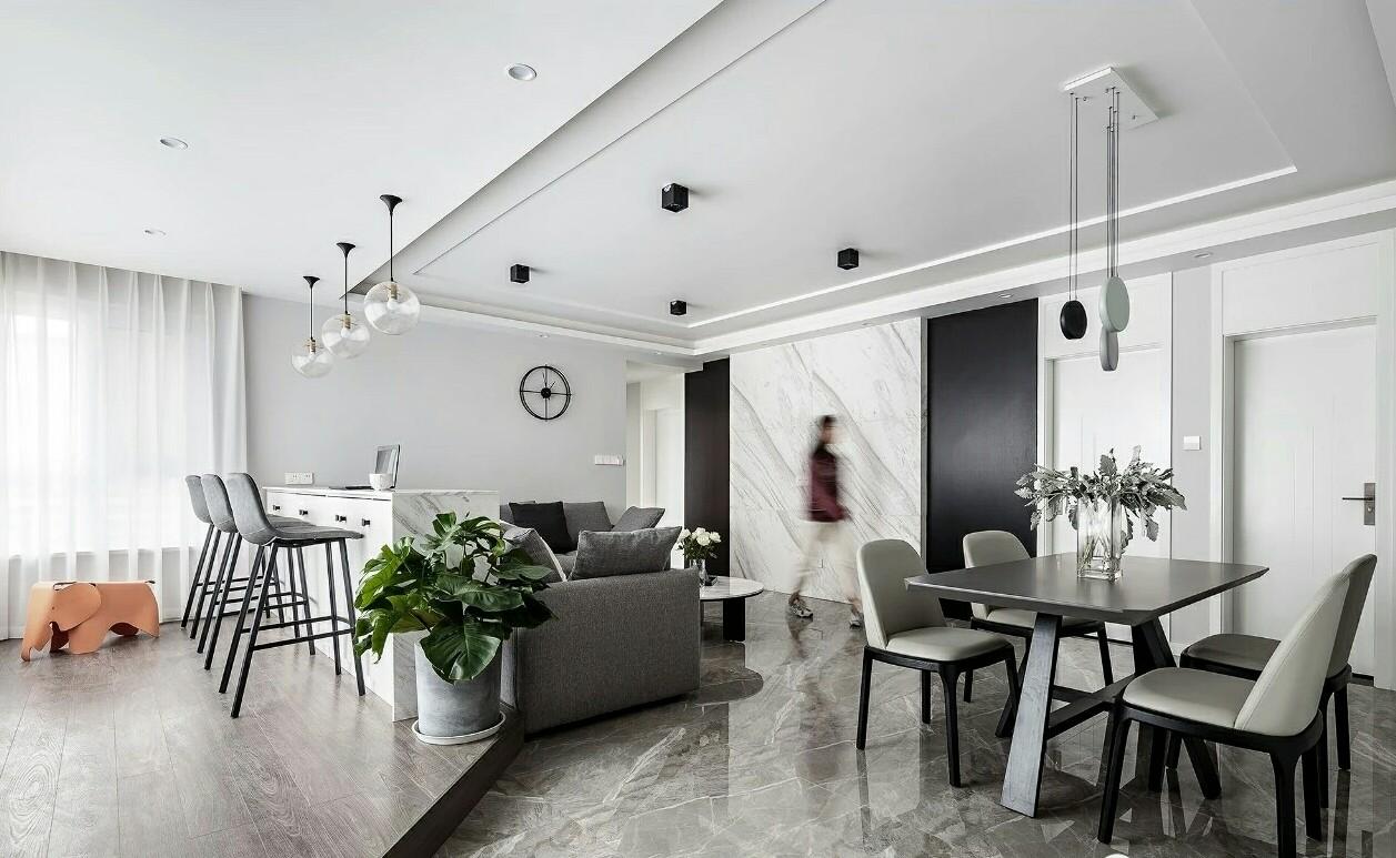 117㎡现代风三居,打通客厅阳台,增加地台和吧台,超赞的设计!