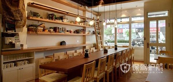实木日韩开放式咖啡厅图