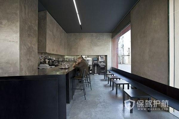水泥工业风简装开放式咖啡厅图