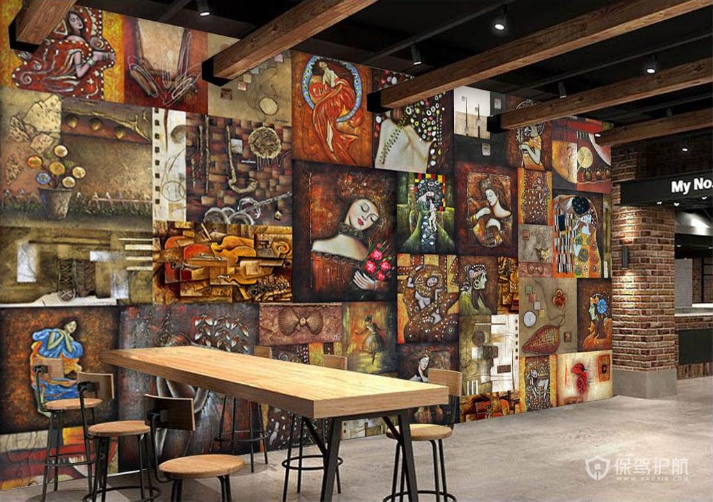 巴洛克式墙面彩绘咖啡店效果图