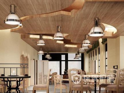 美式田园餐厅装修实景图