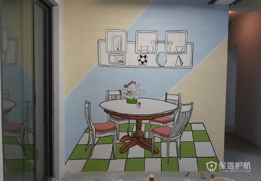 餐厅墙绘-保驾护航